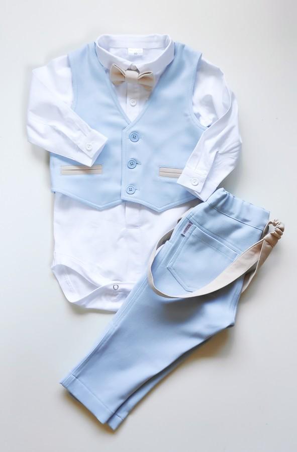 Žydras dangaus kostiumėlis su liemene