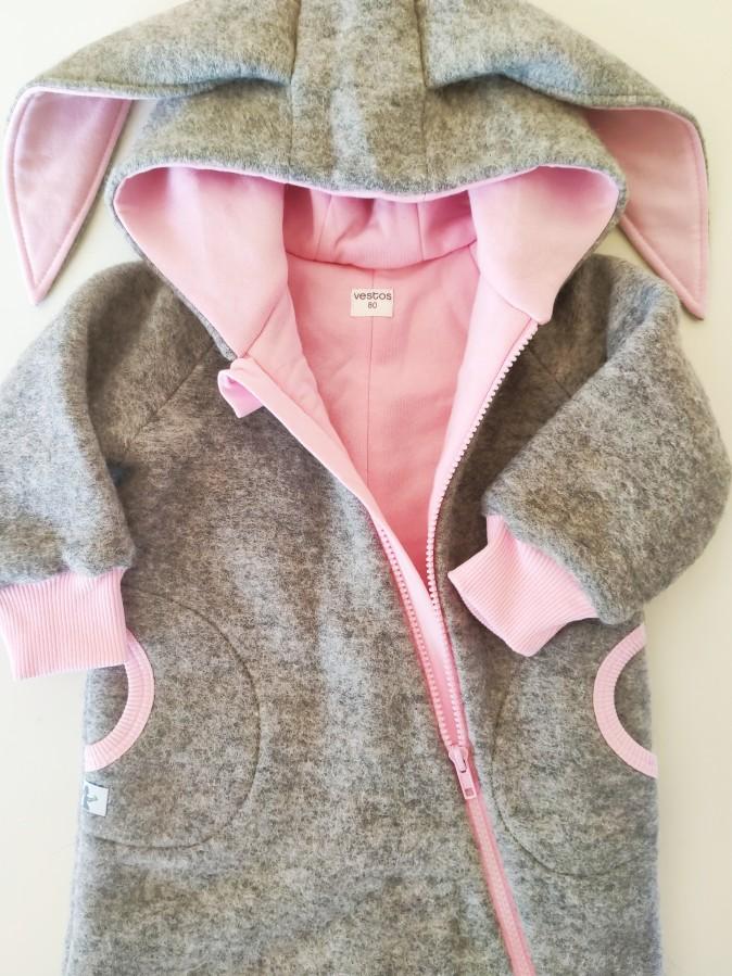 Grey Wool Pink Bunny