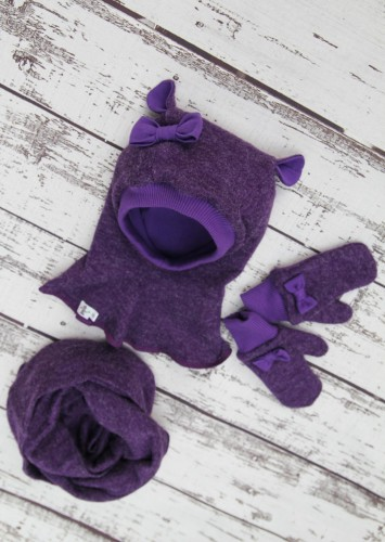VILNONIS ŠALMAS Purple Teddy Bear Plus